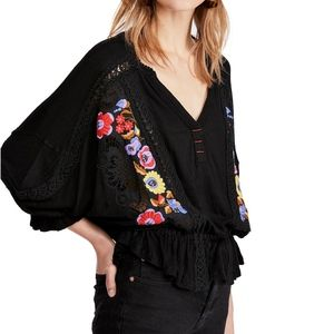 NEW Free People Serafina Embroidered Top